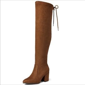 Thigh High Boots Over The Knee Stretch Block Heel